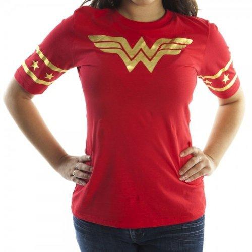 Bioworld Wonder Woman Gold Foil Striped Sleeves Red Juniors T-shirt Tee (Juniors Large)