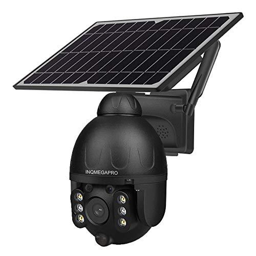 INQMEGAPRO Cámara Inteligente de Alerta de energía Solar PTZ con batería Solar 4G, cámara de Seguridad IP con detección de vídeo PIR de 1080p, visión Nocturna, Foco, Audio de 2 vías