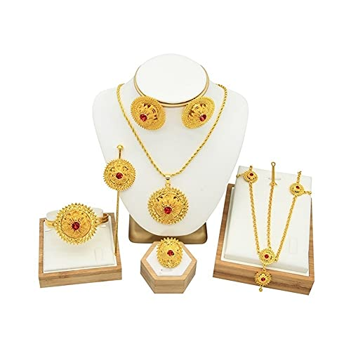 XiaoG Dubai Joyería Set 24k Oro Chapado Africano Novia Collar de Boda Pendientes Pulsera Anillo Horquilla (Color : Gold)