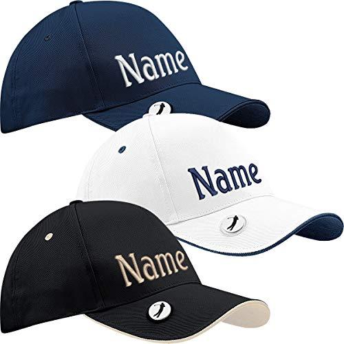 Nashville print factory Golfcap Pro-Style mit Namen Bestickt Golfer Basecap (Schwarz)