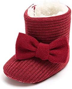 Patucos de Ganchillo Lana Bebé Invierno Soft Sole Crib Caliente Botas de Niñas Algodón con Bowknot (6-12 Meses, Roja, Tamaño de Etiqueta 12)