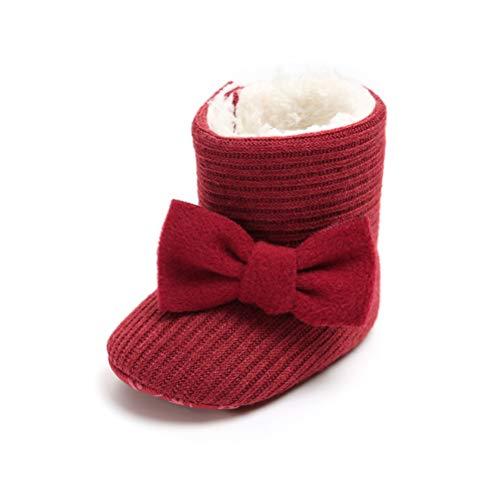 Patucos de Ganchillo Lana Bebé Invierno Soft Sole Crib Caliente Botas de Niñas Algodón con Bowknot (0-6 Meses, Roja)