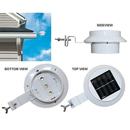 FALOVE 6 Pack Deal - Outdoor Solar Gutter LED Lights - White Sun Power Smart Solar Gutter Night Utility Security Light