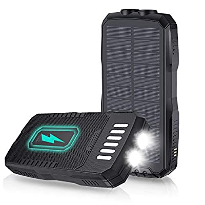 Solar Charger 25000mAh, Solar Power Bank with Qi Wireless Charger and 2 USB Outputs, Portable Solar Battery Charger with Flashlight