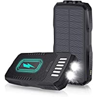 Ziifullhou 25000mAh Solar Portable Power Bank with Wireless Charger