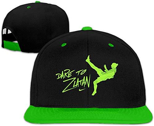 YGSKUY Unisex Baseball Caps Dare to Zlatan Adjustable Snapback Flat Brim Street Rapper Hat,Green,One Size