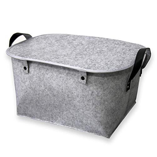 AEESRRU Fieltro, cesta de fieltro con tapa, tamaño 39 x 29 x 25 cm, cesta para la ropa sucia para juguetes, libros, revistas, asas dobles, material natural sin olor (gris)