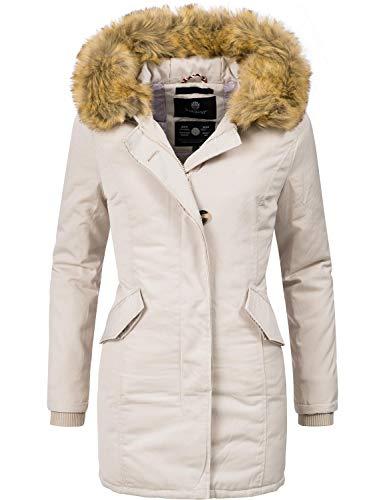 Marikoo Damen Winter Mantel Winterparka Karmaa Creme Off White Gr. L