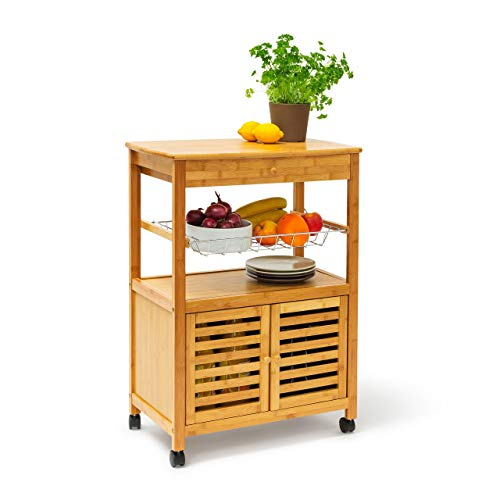 Relaxdays Küchenrollwagen XL Hx B x T 80 x 60 x 35 cm James Bambus Sevierwagen mit Schublade als rollbarer Küchenwagen aus Holz mit großer Ablage und Korb für Geschirr als mobiler Rollwagen, natur