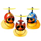 Haooryx 3 Pack Rubber Duck Toys Car Ornaments Helmet Yellow Duck Car Dashboard Decorations Set, Superhero Series Rubber Ducks with Propellers Helmet, Sunglasses, Gold Chain for Adults, Kids Gift