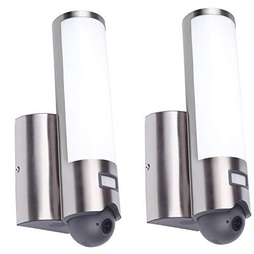 Eco-Light, ST2671-CAM-2SET, 2x LED-Außenleuchte mit Kamera, Elara, Edelstahl, 18 Watt Lichtleistung inkl. Bewegungsmelder.