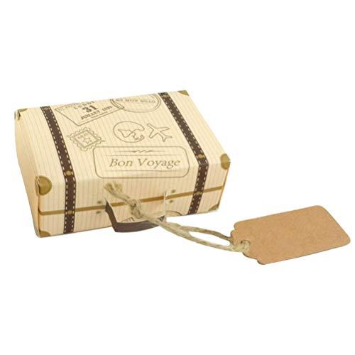 BESPORTBLE 50pcs scatole di Caramelle di Nozze Valigia a Forma di scatole Regalo di Caramelle al Cioccolato Festa di Nozze bomboniere (con cartellino e Cinturino per Appendere) Decorazione