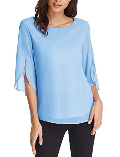 Basic Scoop Neck Half Ruffle Sleeve Chiffon Blouse Casual Tops Size L Light Blue