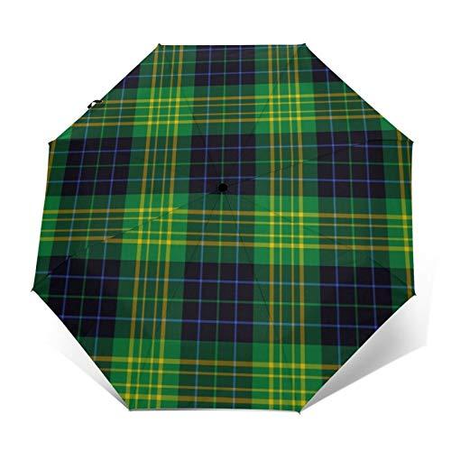 Fitzpatrick - Paraguas plegable resistente al agua, diseño de tartán de caza, resistente al agua, paraguas plegable y plegable automático