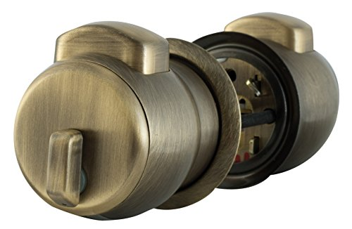 Europa Brass Feather Touch Bedroom Entrance Press Button Cylindrical Lock (Metallic)