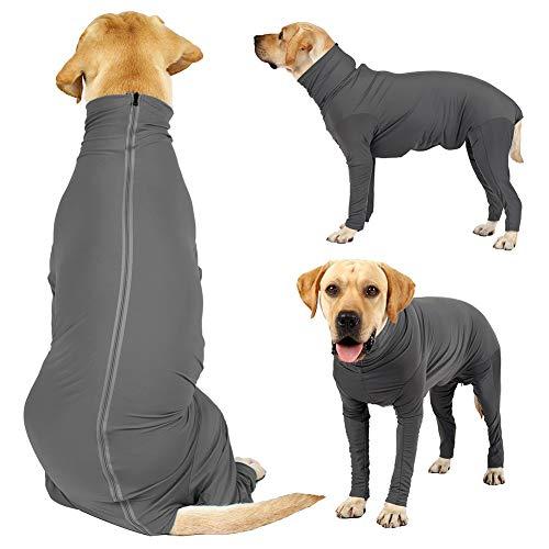 Doubleer Hund Angst Mantel Erholungsanzug für kleine mittelgroße Hunde nach der Operation, 4-Beine Langarm Hund beruhigend Hemd Körper Jumpsuit für Home Car Travel, XS-3XL