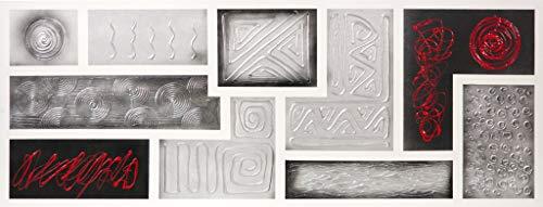Cuadroexpres - Cuadro Pintado Abstracto Gris, Plata y Rojo 130x50 cm, sobre Lienzo. Líneas Rectas, con Relieve, 100% Original Listo para Colgar