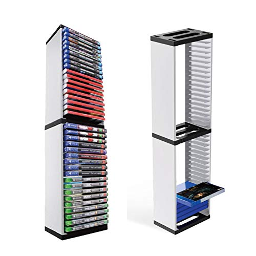 Torre de Almacenamiento de Medios (DVD, CD, Juegos), diseño Moderno Que Ahorra Espacio, Soporte de Torre, gabinete de Almacenamiento en Torre de CD para PS 5,1pc