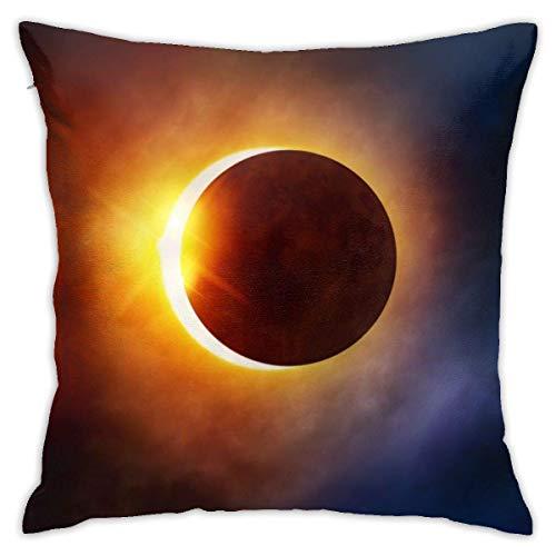 BEDKKJY Home Decor Kussensloop Vierkant Kussensloop met Verborgen Rits Kussensloop voor Slaapbank Auto 18 X 18 Inch Galaxy Space Solar Eclipse 2017 Florida