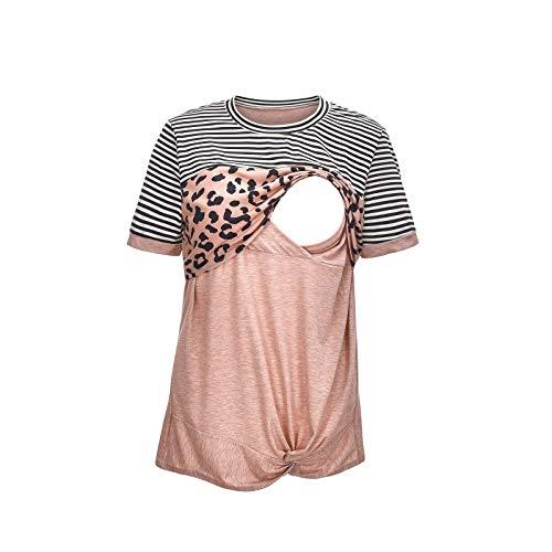 WJSU Zwangerschapskleding voor dames Dubbellaags voedingsshirt Losse voedingstop Klassiek luipaard ronde hals zwangerschapsshirt