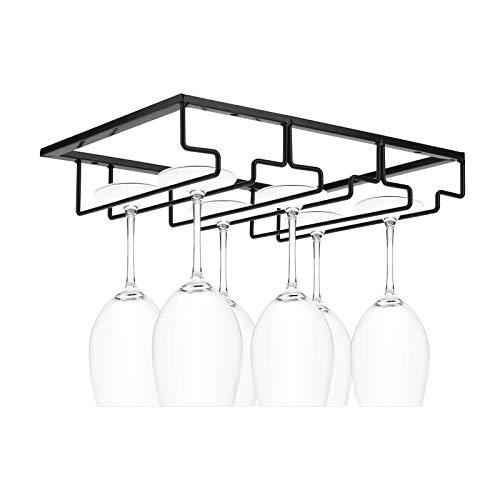 MorNon Wine Glass Rack Under Cabinet Stemware Wine Glass Holder Glasses Storage Hanger Metal...