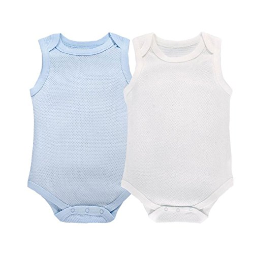 CuteOn 2 Pack Bébé sans Manches Bodysuit Respirant Coton Top Blanc + Bleu 24 Mois