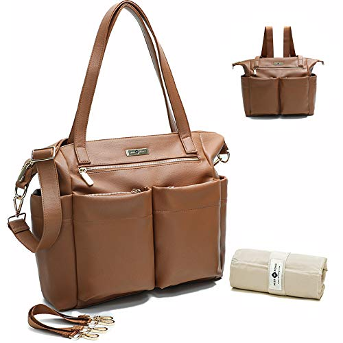 Leather Diaper Bag Backpack By Miss Fong, Baby Bag,Diaper Bag Tote.