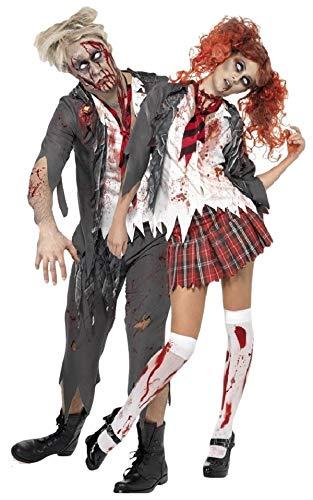 Couples Ladies Mens Zombie School Girl School Boy Uniform Halloween Fancy Dress Costumes Outfits (Ladies UK 4-6 & Mens Small)