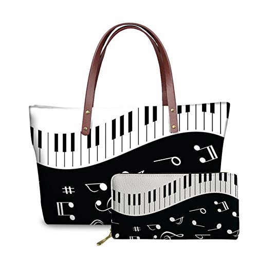 Qingeng Music Piano Keyboard Print Top Handle Tote Bag Handbag Neoprene Waterproof Satchel Bag Matching Pu Leather Wallet Card Card Holder Purse