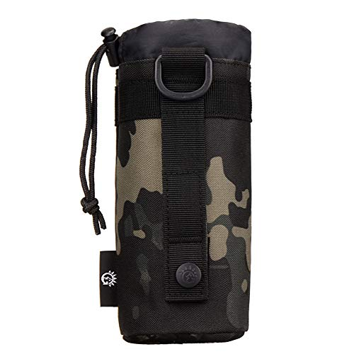 CREATOR Adjustable Tactical Water Bottle Pouch Foldable MOLLE Water Bottle Holder-Camo Black