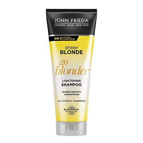John Frieda Sheer Blonde Go Blonder Shampoo - 250 ml - aufhellend - mit Citrus und Kamille - hellt stufenweise auf - auch für farbbehandeltes Haar