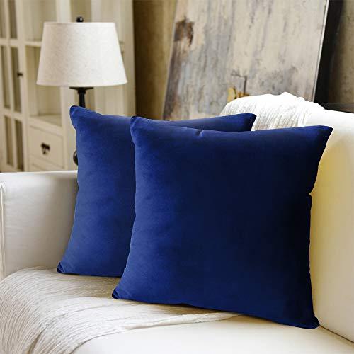WEYON Juego de 2 fundas de cojín decorativas de terciopelo con cremallera oculta resistente, para sofá, dormitorio, coche, 40 x 40 cm, color azul oscuro