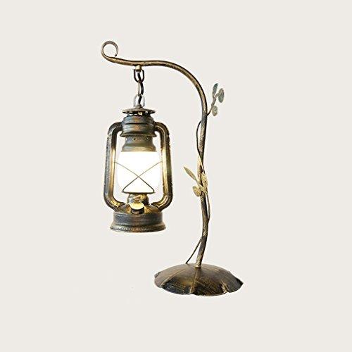 Modeen 48 cm Rétro Salon Lampe de Table Bouton Lampe en fer forgé kérosène E27 Nostalgique lampe de chevet Lampe de chevet 110-220V AC Tension abat-jour en verre de bureau, Wweep Gold