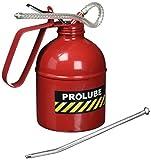 PROLUBE 1-Quart (1000 ml) Heavy Duty Pistol Type Oiler | Steel Pump | Rigid & Flexible Spout | Dome Shape | Red Color (41435)
