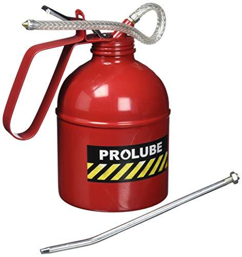 PROLUBE 1-Quart (1000 ml) Heavy Duty Pistol Type Oiler   Steel Pump   Rigid & Flexible Spout   Dome Shape   Red Color (41435)