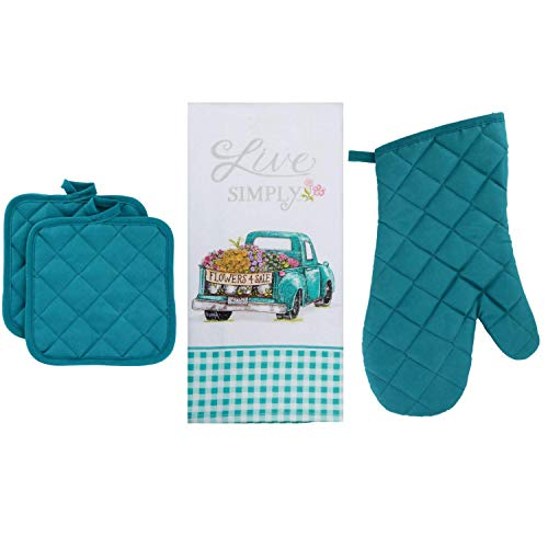 Just4You Vintage Farm Truck Kitchen Towel Set, Teal and White - 1 Live Simply Dish Towel with Farm Truck and Flowers, Buffalo Plaid Border - 1 Oven Mitt, 2 Potholders - Country Farmhouse Theme