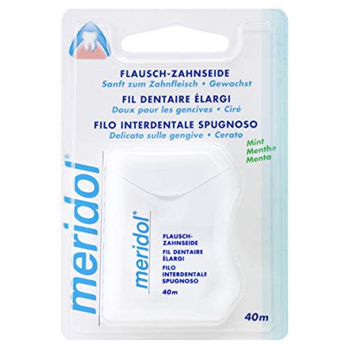 Meridol Flausch-Zahnseide, 40m - Zahnseide zur gründlichen und sanften Reinigung der Zahnzwischenräume, verringert das Risiko für Entzündungen des Zahnfleisches mit frischem Mint-Aroma