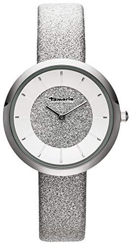 Tamaris, Bea, DAU 34mm, Silber, ZB Silber, Lederarmband Glitzer Silber