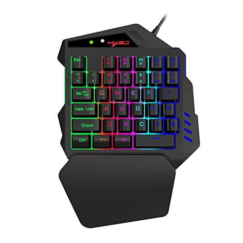 Rantoloys V500 Streaming Ribbon Converter Teclado de una Mano con Interfaz de convertidor USB Flow Color Light Keyboard Negro
