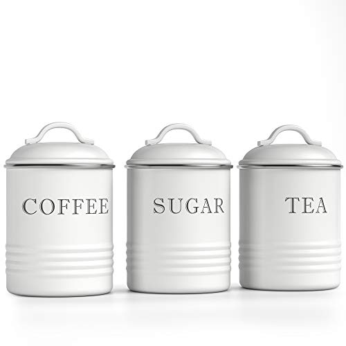 Barnyard Designs Airtight Kitchen Canister Decorations with Lids White Metal Rustic Farmhouse Country Decor Containers for Sugar Coffee Tea Storage Set of 3 4 x 675