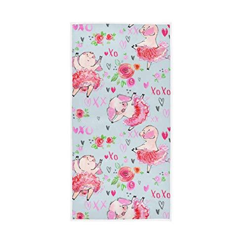 LUCKYEAH - Toallas de mano de algodón con diseño de cerdo con flores y corazones para niñas, mujeres, niños, toalla de mano suave absorbente para el hogar, hotel, piscina, gimnasio, 76 x 38 cm