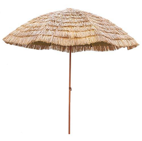 WJWJ Sombrillas Terraza 2.4x2.4m,Parasol Terrazacon Función De Inclinación,Sombrilla Playa GrandePaja De Simulación Hawaiana,Sombrilla Impermeable Al Aire Libre