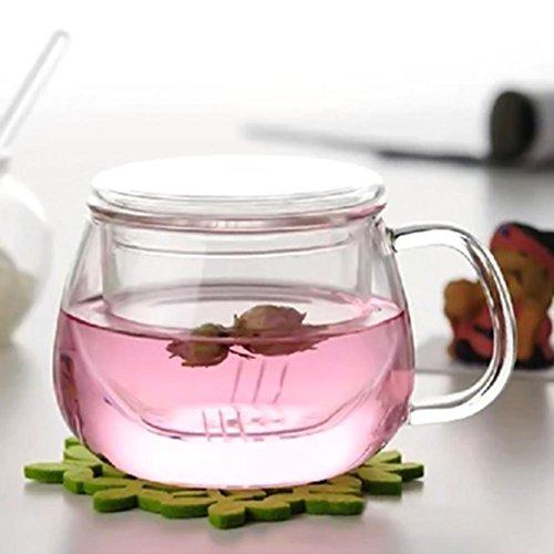 flower205 Théière de 300 ml Théière faite de verre de borosilicate théière de thé créative avec filtre pour le thé de la fruits, thé de la fleur, thé d'herbes, transparent