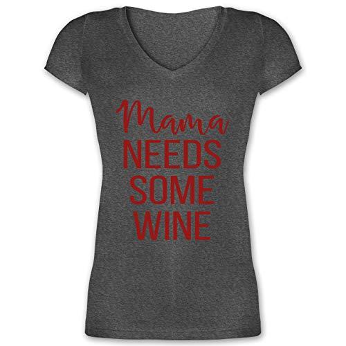 Muttertagsgeschenk - Mama Needs Some Wine - XL - Anthrazit meliert - Wein - XO1525 - Damen T-Shirt mit V-Ausschnitt