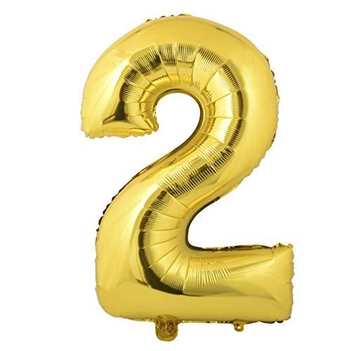 Miss Bakery's House® Ballon Folie Helium Zahl 2 Gold - Deko Geburtstag Party