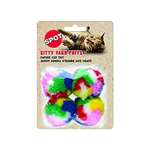 SPOT Kitty Yarn Puffs Colorful Woolen Yarn Cat Toy Contains Catnip 1.5' Pack of 4 By Ethical Pet, Small