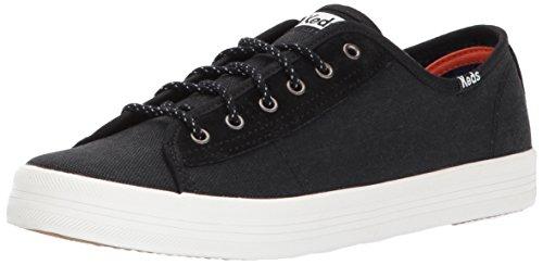 Keds Women's Kickstart Canvas/Suede WX Sneaker, Black, 9.5 Medium US