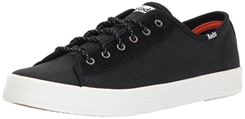 Keds Women's Kickstart Canvas/Suede WX Sneaker, Black, 9.5 Medium US