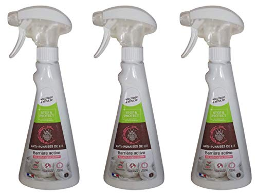 LG - Stop & Protect - Spray para eliminar chinches 500 ml - Fabricacion francesa- Lote de 3 botellas