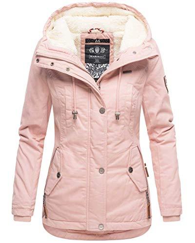 Marikoo warme Damen Winter Jacke Teddyfell gefütterte Winterjacke B802 [B802-Bik-Rosa-Gr.XL]